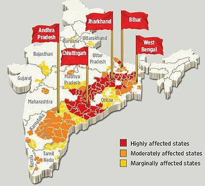 Image result for maoist affected states in india
